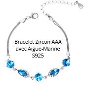 Bracelet Zircon AAA avec Aigue-Marine S925