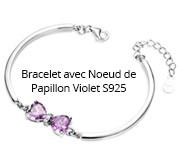 Bracelet avec Noeud de Papillon Violet S925